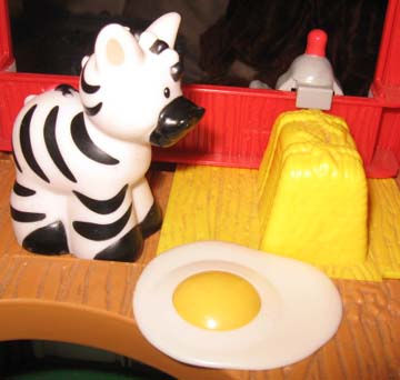 Hi ho the derry-o the zebra's in the barn with the fried egg…